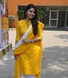 Buy New yellow White Designer zip salwar Suit wedding-season-sale online