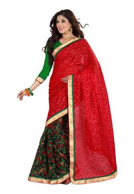 Fabdeal Red Colored Cotton Brasso Printed Saree