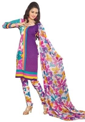 Triveni Pleasing Synthetic Cotton Purple Colored Indian Ethnic Salwar Kameez
