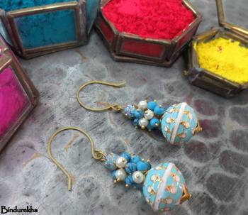 Turquoise_Meena_Ball_White_Turquoise_Cluster_Earrings