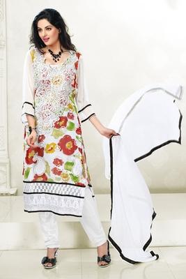 This a White Chiffon Printed Salwar Kameez