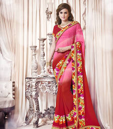 Buy pink printed georgette saree With Blouse ethnic-saree online