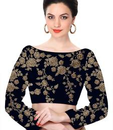 Buy Fabron Navy blue Raw silk dori and sequins floral design heavy work blouse-fabric online