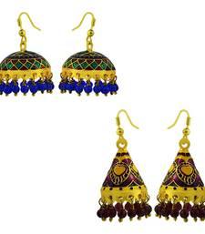 Buy Meenakari tokri and cone shaped jhumki combo-earring online