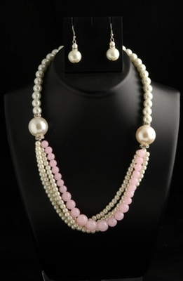 designer pearl and baby pink semiprecious stone mala with pearl drops