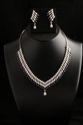 Eye catching American Diamond necklace set with blue color