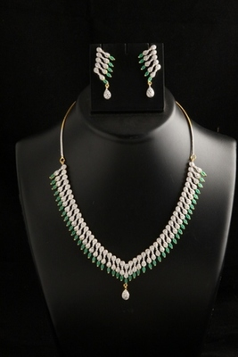 Eye catching American Diamond necklace set with green color