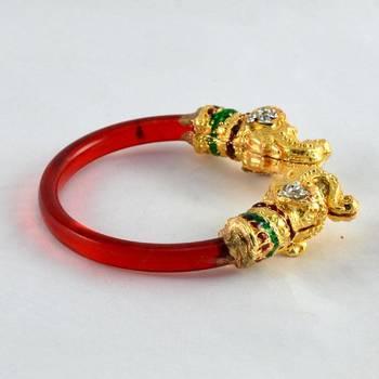 Acrylic stretchable bangles  kara trans red