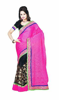 Pink And Black  Net And Brasso Embroidered Saree By Fabfiza