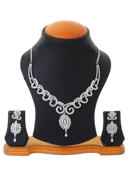 Begets Studded Silver Wedding Party Necklace Set For Women