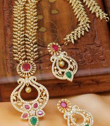 Buy Gorgeous gold plated necklace set south-indian-jewellery online