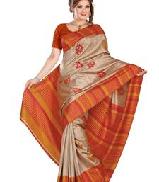 Buy beige printed art silk saree With Blouse bhagalpuri-silk-saree online