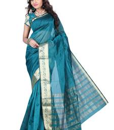 Buy blue woven art silk saree With Blouse art-silk-saree online