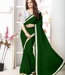 Buy Green  Embroidery chiffon saree with blouse chiffon-saree online