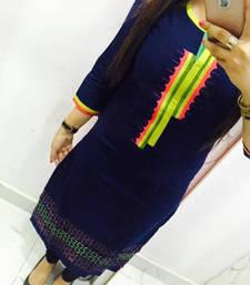 Buy Navy blue embroidered georgette semi stitched kurti pakistani-kurtis online