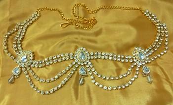 Gorgeous Austrian Diamonds White Waist Belt Kamarband Belly Chain