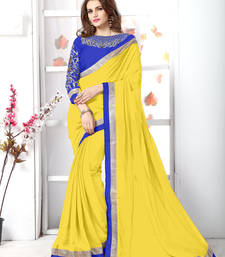 Buy Yellow embroidered chiffon saree with blouse faux-saree online