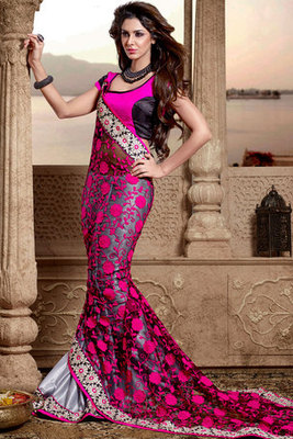 Pink and Gray Net Chifon Saree