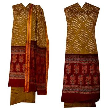 Beautiful boutique dress bandhani bandhej dress material in cotton kutchi traditional indian salwar kameez