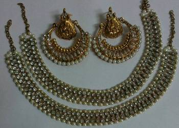Designer Pearl Ram Leela Earings with Traditional Anklets