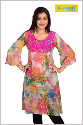 A Multi Colour Georgette Digital Printed Kurti