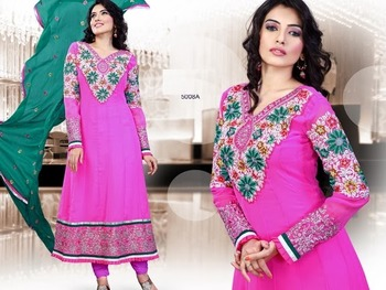 semi styitched emb suit with duppatta