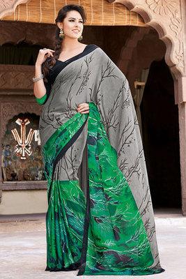 Grey and Green Art Silk Printed Saree
