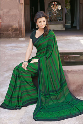 This a Green Printed Saree with Art Silk Fabric