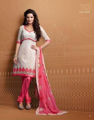 Designer White & Pink Chanderi Suit