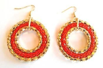 Orange Disc Earrings