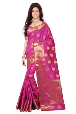 Rani woven tussar_silk saree With Blouse