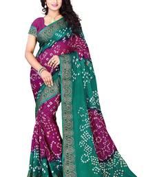Buy rani pink hand woven bandhani saree With blouse bandhani-sarees-bandhej online