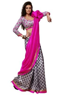 Triveni Amazing Grey Indian Traditional Bhagalpuri Silk Printed Saree TSVD19021