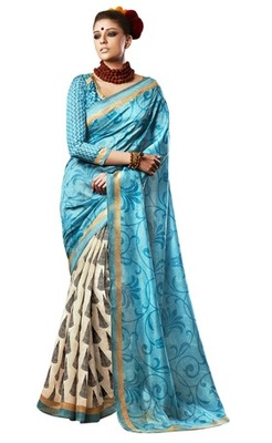 Triveni Amazing Blue Indian Traditional Bhagalpuri Silk Printed Saree TSVD19027