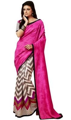 Triveni Amazing Pink Indian Traditional Bhagalpuri Silk Printed Saree TSVD19036
