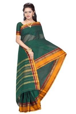 Triveni Lovely Greened Border Worked Cotton Sari TSMRCC407