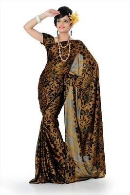 Mustard brasso saree with unstitched blouse (adt774)
