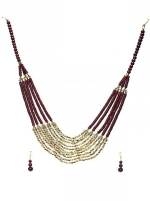 Gold bombs Maroon Beads traditional necklace