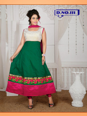 GREEN RESHAM EMBROIDERED BORDER WORK READYMADE ANARKALI SUITS