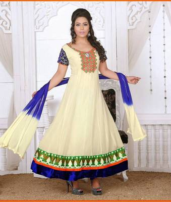 OFF WHITE AND BLUE READYMADE FAUX GEORGETTE ANARKALI SUITS
