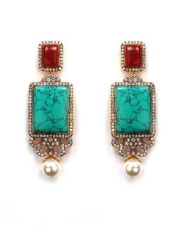 Red and green hanging earring