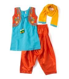 Buy Blue embroidered chanderi kids salwar suits kids-salwar-suit online