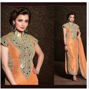 Orange Raw silk Embroidered Dress