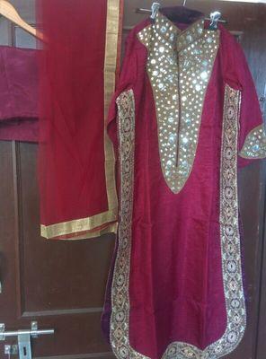 Maroon Raw silk designer Dress