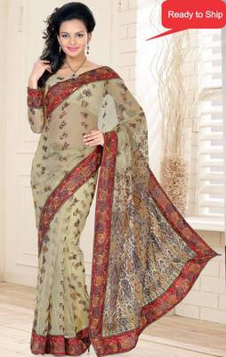 Beige Color Net Saree with Blouse