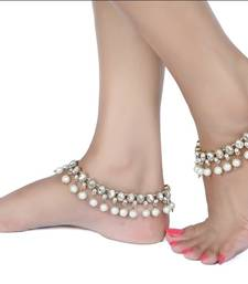 Buy Womens Fashion Anklets Golden Finishing  Kundan Pearl Pair Indian Jewellery anklet online
