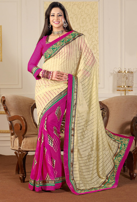 Hypnotex Art Silk+Georgette Cream+Pink Saree Mace 2033