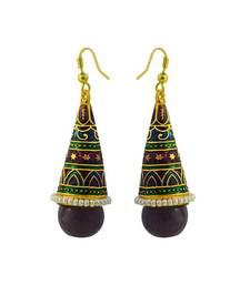 Buy Traditional meenakari kundan rocket shaped jhumki earring danglers-drop online