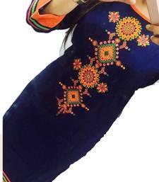 Buy Blue Embrodery Georgette Long  Kurti Selfie Kurti party-wear-kurti online
