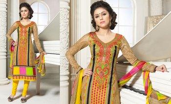 Hypnotex Cotton Chikoo Dress Materials  Bazzar 7345B